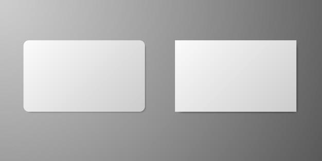 Maquete realista do cartão de visita. modelo de cartão realista em branco. crédito empresarial realista.