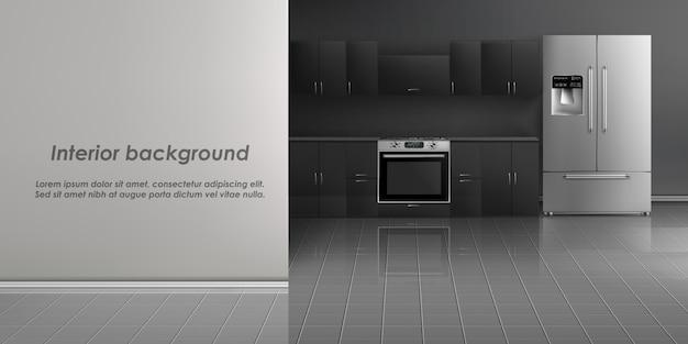 Maquete realista do interior de sala de cozinha com eletrodomésticos, geladeira