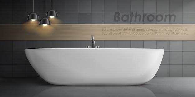 Maquete realista do interior do banheiro com grande banheira de cerâmica branca, torneira de metal