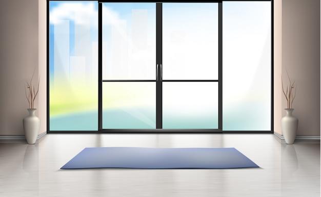 Maquete realista do quarto vazio com grande porta de vidro, tapete azul no chão limpo
