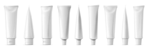 Maquete realista do tubo. tuba de plástico branco para pasta de dente, creme, gel e shampoo. maquete de vetor de vista frontal e lateral de embalagens em branco. ilustração do conjunto de modelos para medicamentos ou cosméticos