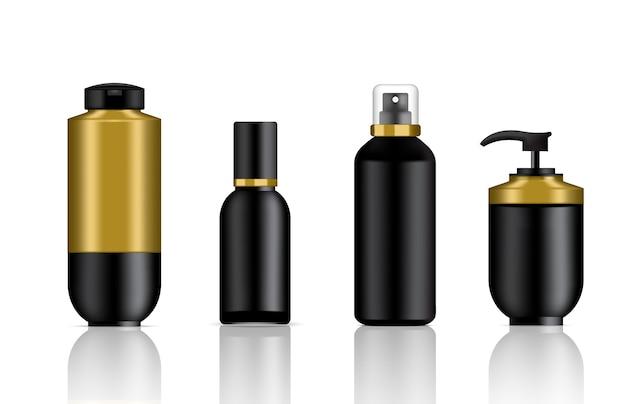 Maquete realista preto e dourado cosméticos sabão e spray garrafas de luxo conjunto fundo