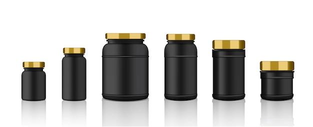 Maquete realista preto, embalagens plásticas douradas