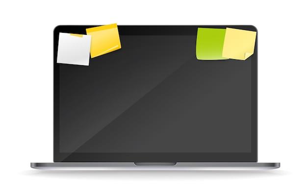 Maquete vetorial de laptop moderno com adesivos de papel colorido