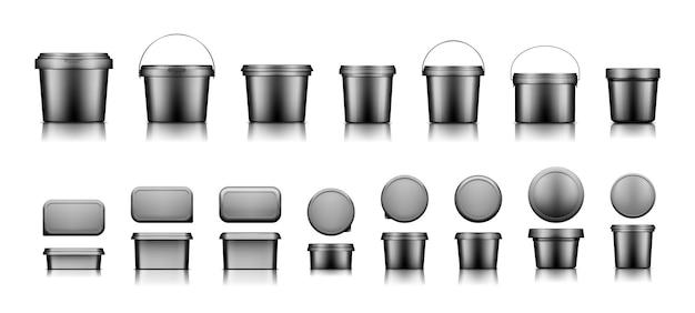 Maquetes de balde de plástico preto