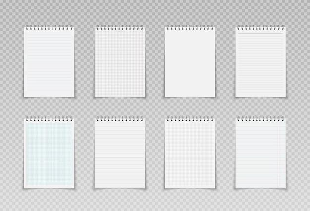Maquetes de blocos de notas espirais realistas página de fichário quadriculada e pontilhada para blocos de notas