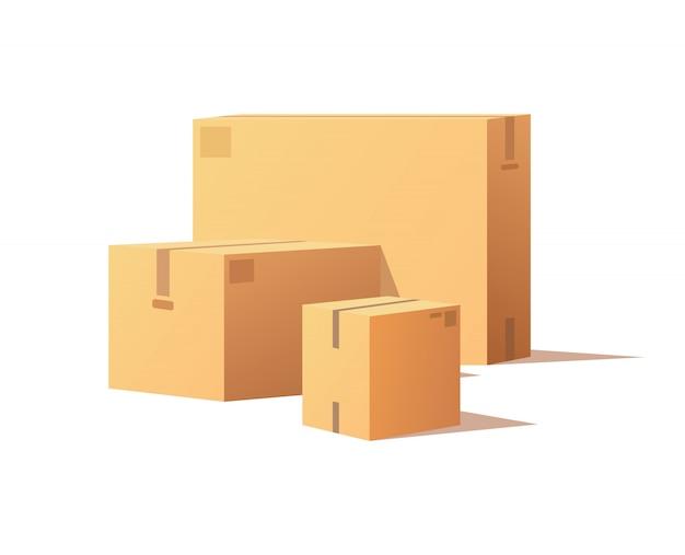 Maquetes de caixas fechadas, contêineres para entrega