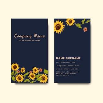 Maquetes de cartão com design girassol