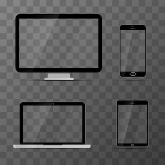 Maquetes de monitor, laptop, tablet preto e smartphone