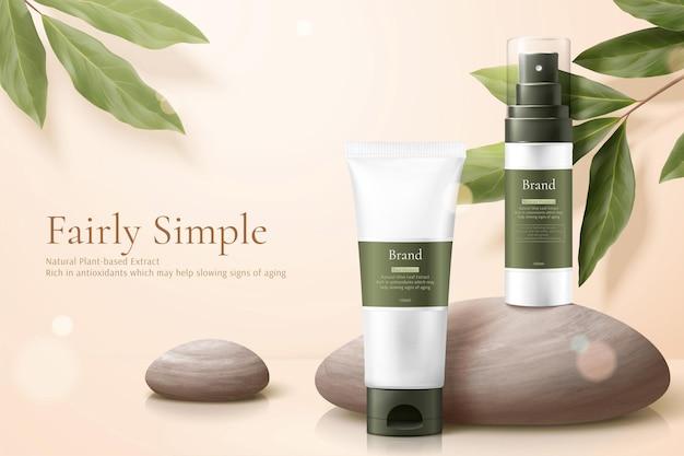 Maquetes de produtos de conceito de cuidados simples e saudáveis com seixos e eucalipto limão