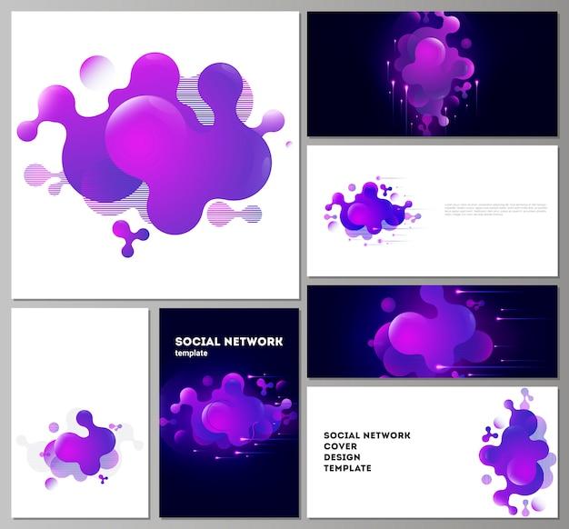 Maquetes de redes sociais modernas em formatos populares.