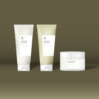 Maquetes de tubo e frasco de cosméticos
