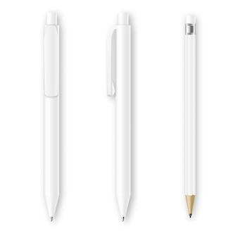 Maquetes de vetor de caneta e lápis branco