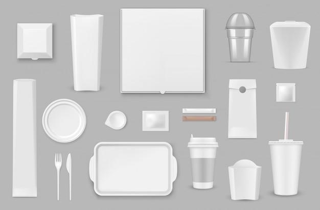 Maquetes realistas de utensílios de mesa descartáveis