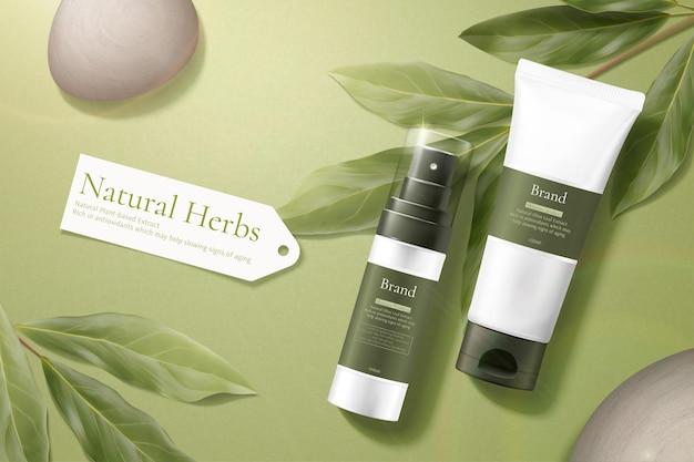 Maquetes simples e naturais de produtos com conceito de cuidados com a pele colocadas com seixos e eucalipto limão