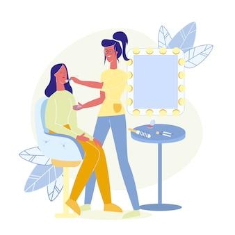 Maquiagem artista ocupação flat vector illustration