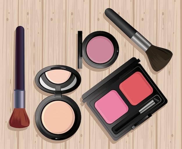 Maquiagem cosméticos em mesa de madeira