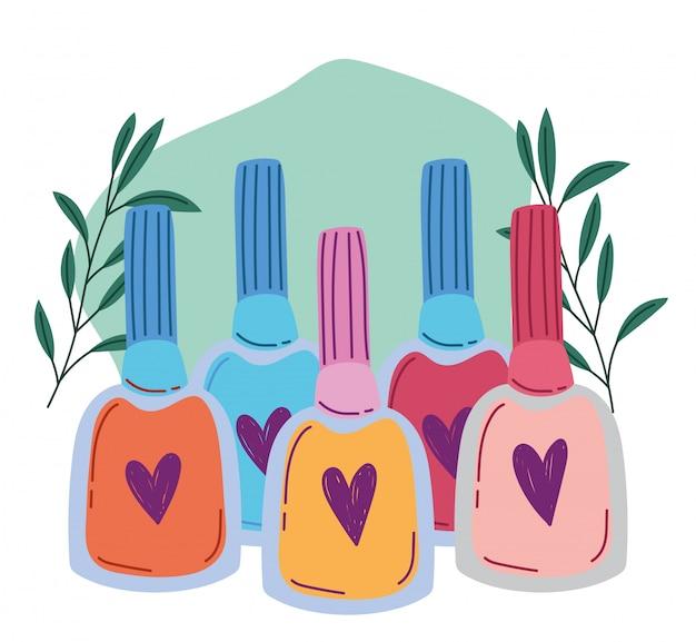 Maquiagem cosméticos produto moda beleza multicolor esmaltes manicure ilustração