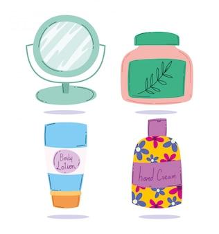 Maquiagem cosméticos produtos moda beleza espelho loção corpo creme para as mãos cuidados com a pele ilustração vetorial
