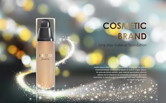 Maquiagem de cores em uma embalagem elegante fundo cinza com um efeito bokeh e um fluxo de pó cintilante