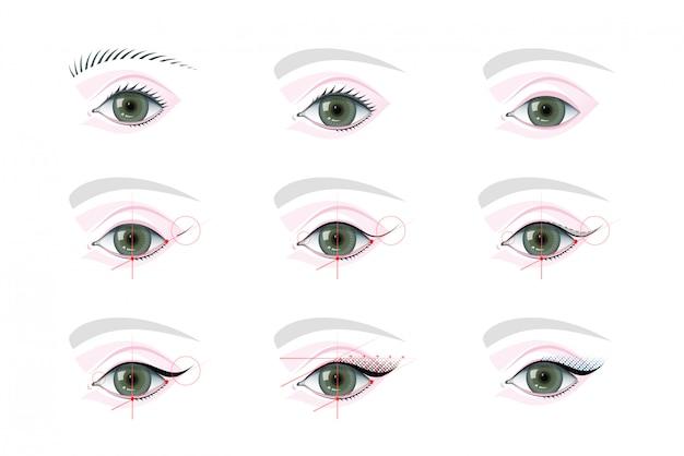 Maquiagem dos olhos e conjunto de ilustrações tutoriais de tatuagem permanente