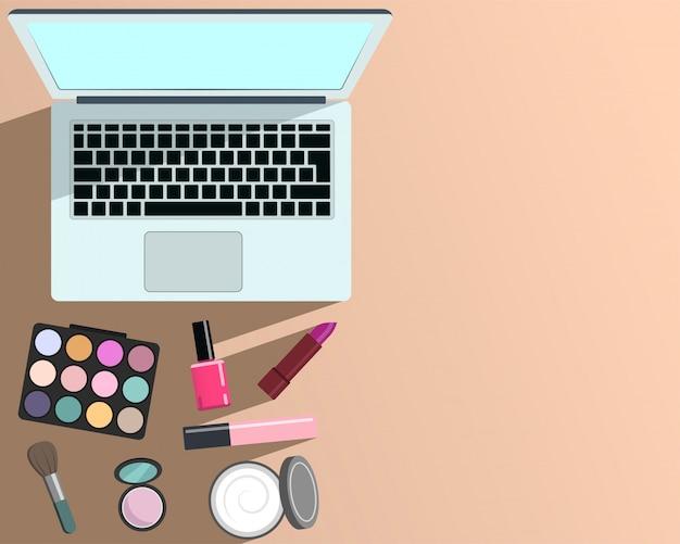 Maquiagem e beleza e modelo de computador portátil e espaço em branco para texto