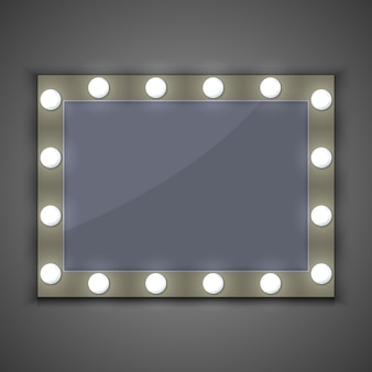 Maquiagem espelho com lâmpada