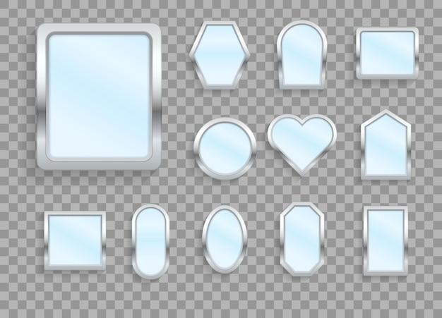 Maquiagem ou móveis de interior refletindo ícones 3d de superfícies de vidro