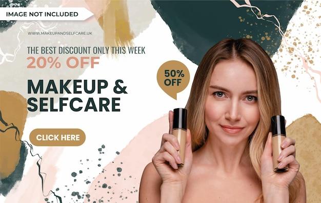 Maquiagem pintada à mão e design de banner de venda na web de autocuidado com uma linda mulher