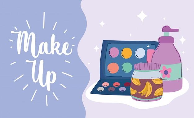 Maquiagem produto moda beleza sombra paleta dispensador creme e ilustração em vetor produto cuidados com a pele