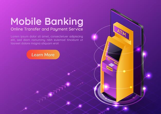 Máquina atm 3d isométrica web banner na tela do smartphone. banco móvel e página inicial do conceito de pagamento online.