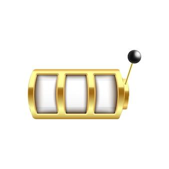 Máquina caça-níqueis dourada com três elementos de rotação em branco e estilo realista de braço de alavanca