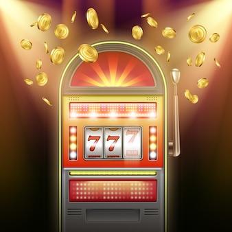 Máquina caça-níqueis retro iluminada de vetor com moedas de ouro caindo em fundo escuro e luzes piscando