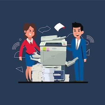 Máquina copiadora com escritório homem e mulher