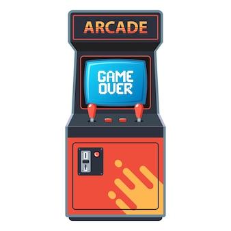 Máquina de arcade em um fundo branco.
