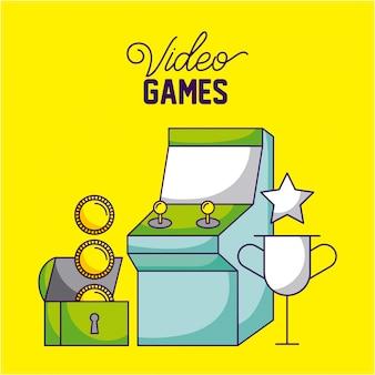 Máquina de arcade, moedas e troféu, videogames