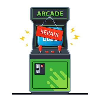 Máquina de arcade retro quebrada.