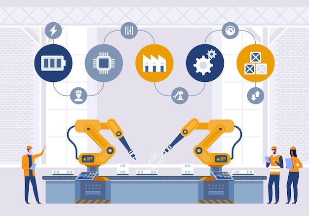 Máquina de braços robóticos em fábrica inteligente industrial em software de sistema de monitoramento.
