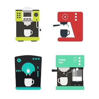 Máquina de café com um conjunto de xícara pode ser usada para casa, restaurante, café ou escritório. estilo.