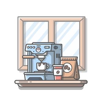 Máquina de café com xícara e grãos de café. isolado fundo branco