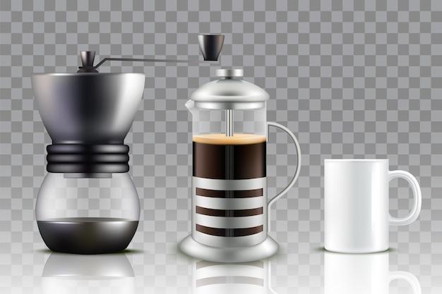 Máquina de café da imprensa francesa, moedor de café e xícara de café.