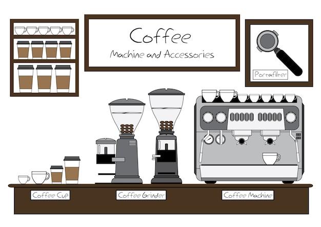 Máquina de café e acessórios vector design