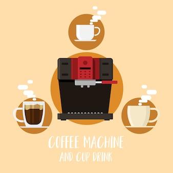 Máquina de café e xícara de café estilo flat