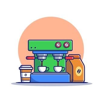 Máquina de café expresso, canecas, copo e pacote de café ilustração do ícone dos desenhos animados. conceito de ícone de máquina de café isolado premium. estilo flat cartoon