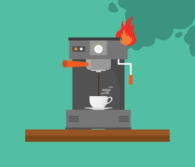 Máquina de café quebrada com fumaça e fogo vector