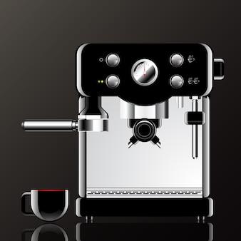 Máquina de café realista com xícara