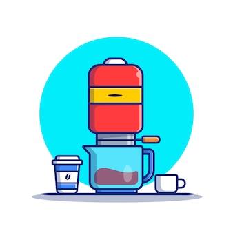 Máquina de café v60, caneca e copo ilustração dos desenhos animados. conceito de ícone de máquina de café isolado premium. estilo flat cartoon