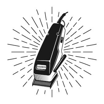 Máquina de cortar cabelo com ilustração vintage de raios