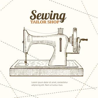 Máquina de costura, alfaiataria, desenho à mão, esboço. equipamento de costureira ou costureira.