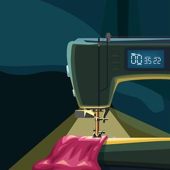 Máquina de costura com luz no fundo escuro